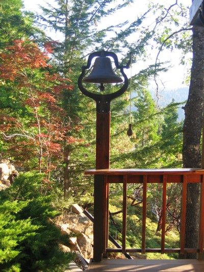 View of the old bell near the kitchen deck
