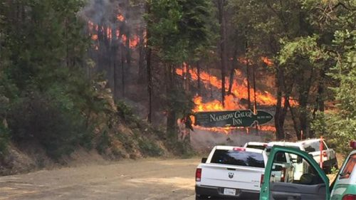 Image of a ground fire in the woods and the historic Narrow Gauge Inn sign in flames.