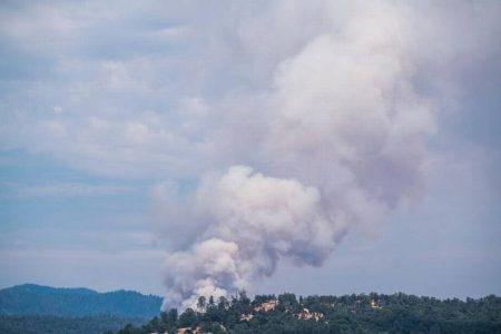 Image of smoke rising from the ridgeline