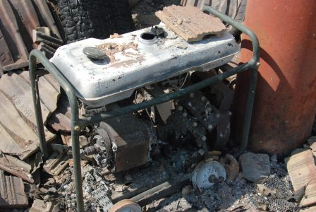 Image of a partially melted generator
