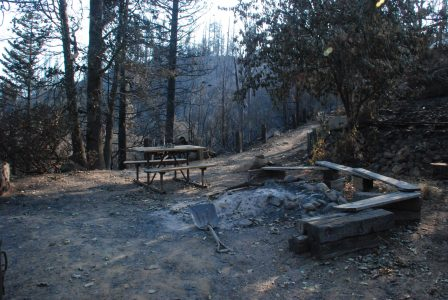 Image of a picnic table next to a fire pit