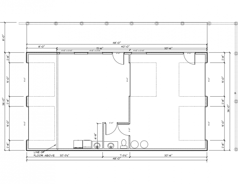 Lower floor plan of the garage which includes a small half-bath