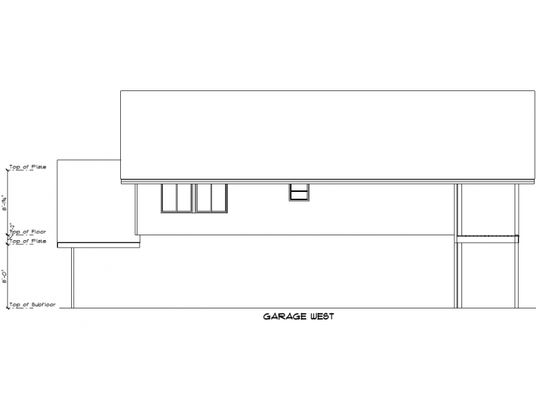 Drawing of the west face of the garage