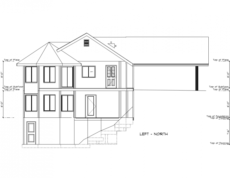 Image of an engineering drawing of a hillside house with carport