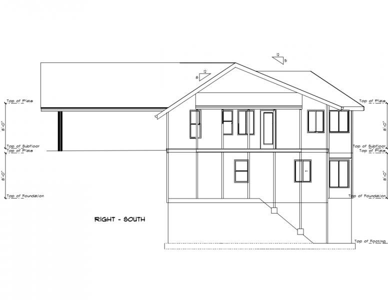 Image of an engineering drawing of a hillside house, from the other side