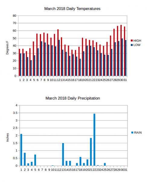 Charts of daily temperature extremes and precipitation for the month of March